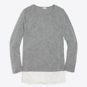 J.Crew Gray Long Sleeve Top with White Silky Hem